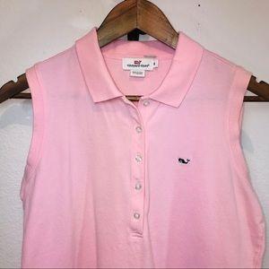 VINEYARD VINES Women's Sleeveless Pink Polo Medium